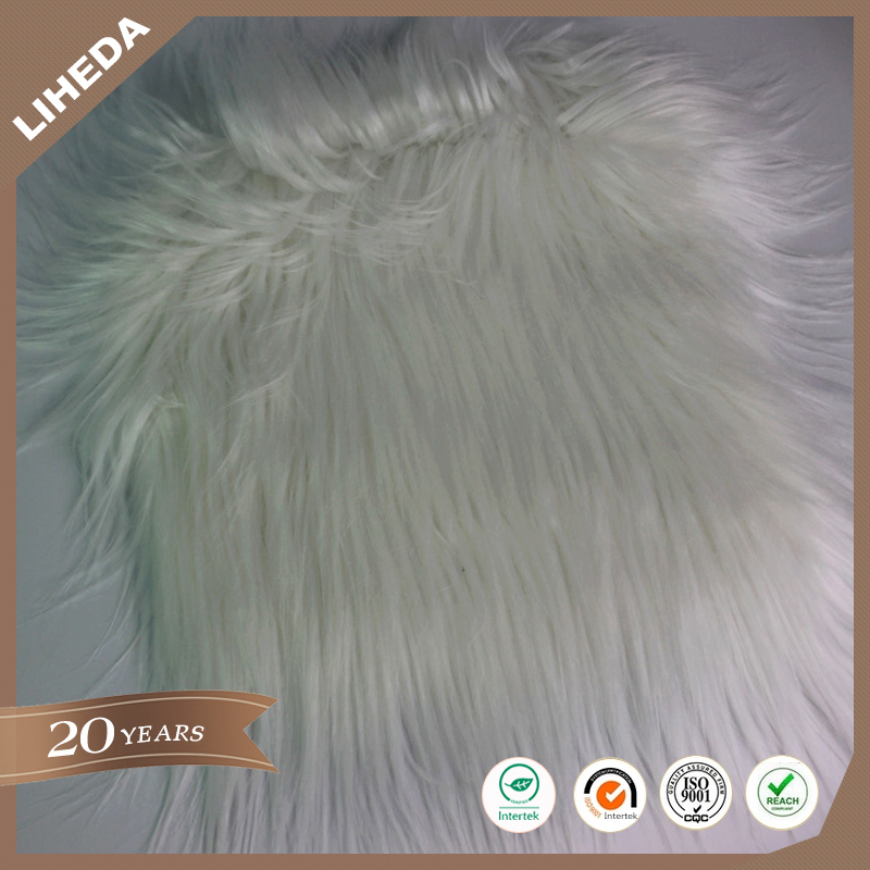 110 mm Solid Color Warm Winter White Long Pile Faux Fur For Women's Coat