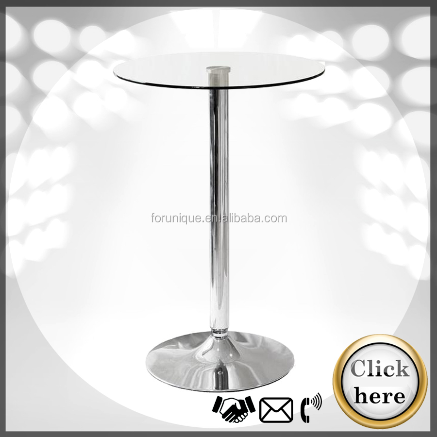 cheap round glass bar table with chrome base, bar cocktail table
