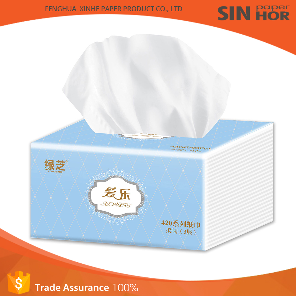 Wholesale cheap price wood pulp facial tissue box design