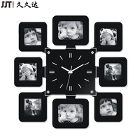 High Quality MDF Promotional Wooden Quartz Wall Clock With Photo Frame For Home