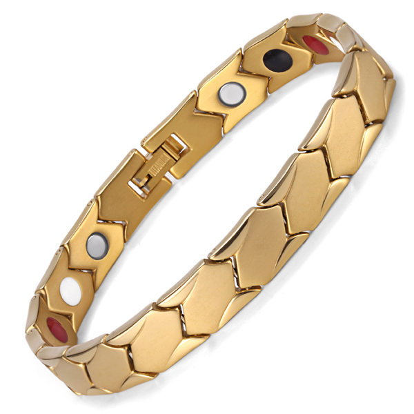 BE Manufacturer Adjustable 18k Golden Titanium Germanium Magnetic FIR Bracelet Wholesale <strong>Jewelry</strong>