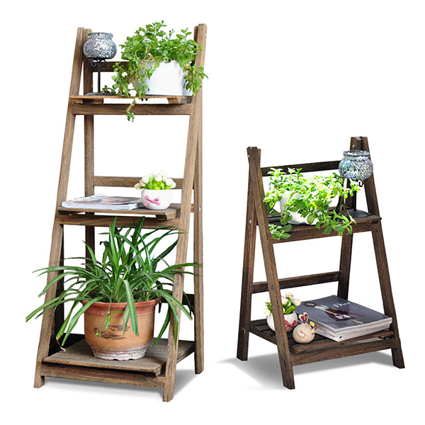Wood Folding Ladder Plant Flower Pot display stand