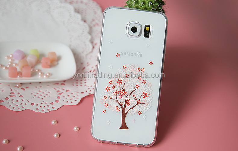 Silicone cell phone case Sakura tree clear phone rubber tpu cases Soft custom Phone Case For samsung S7 s7 edge