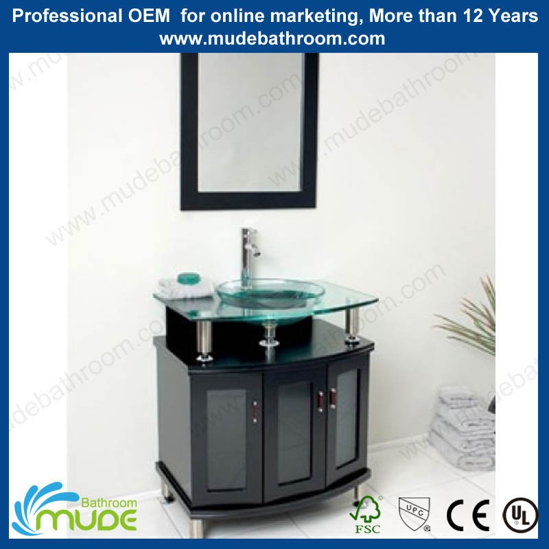 Modern customized fancy funiture tona bathroom vanity with glass basin