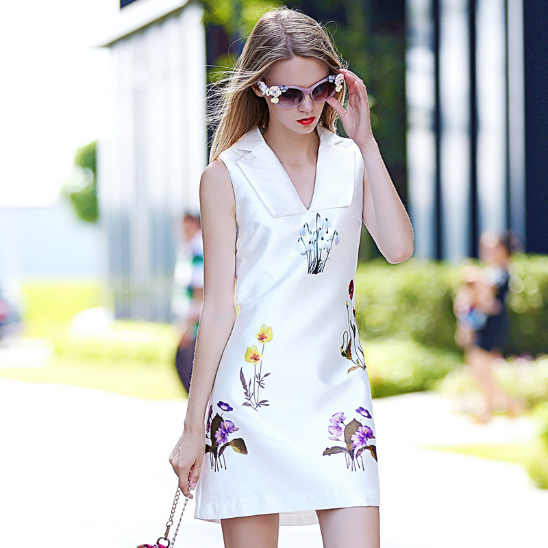 Vestidos Summer Dress Desigual Women Casual Flower Print Sleeveless Dress Unice Lai Summer Style White/Black2015 alibaba express
