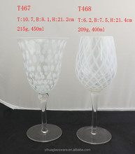 400ML MOUTH BLOWN DIAMOND CUT GOBLET /WHITE COLORED STEM WINE GLASS