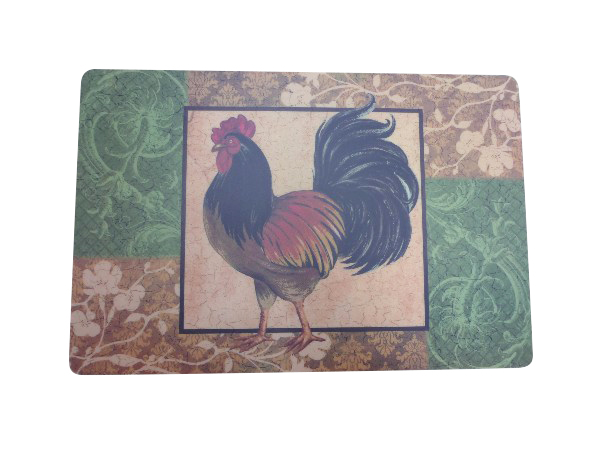 Professional Rectangular Colorful Printed Rooster Placemat