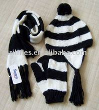 kids 3pcs scarf hat glove knitted sets