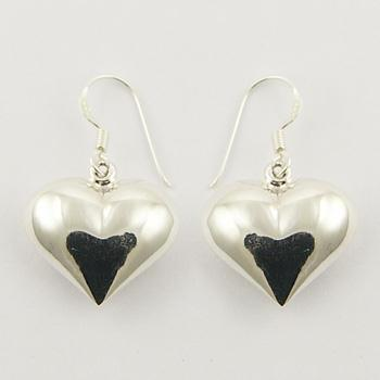 Beautiful Sterling Silver Puffed Hearts Danglers