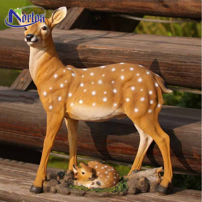 The modern park decorated with lager deer and small deer fiberglass sculptures NTFA-065Y