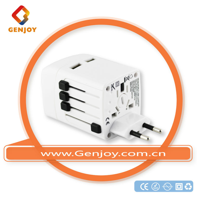 GENJOY 2013 popular made in china world all in one adapter plug with usb international power adapter A1322.00