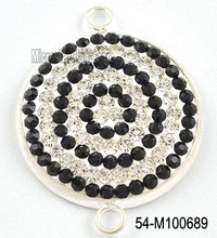 28mm Round fashion black rhinestone pendent