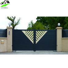 Modern Customized automatic stacking Aluminum plastic sliding fence main gate with front designs outside house home yard