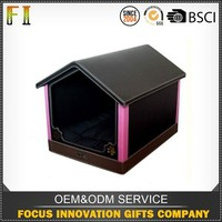 High quality custom woolen PU leather dog house made in China