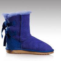 HC-730 Twice-faced sheepskin good quality TPR outsole non slip winter women sheep wool boots with decorative bow