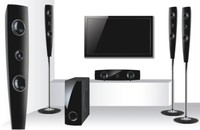 5.1 ch home theater surround sound system with active bluetooth woofer speaker