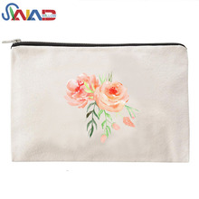 Personalized Bulk canvas zipper cosmetic bag Travel Make Up Pouch