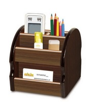 OEM supply 360 degree office MDF square wood pencil container