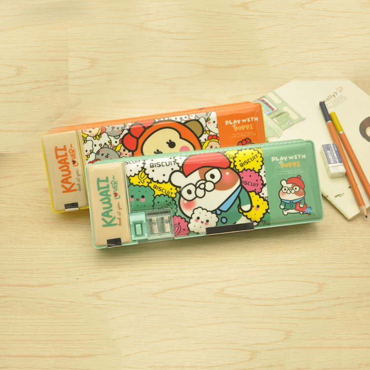 kids stationery PVC magnetic plastic pencil case with sharpener