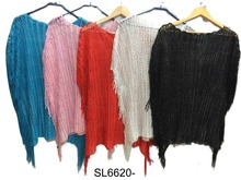 Knit crochet long fringed ruana kimono cover up wrap shawl