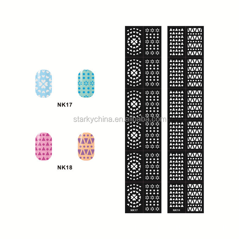 wholesale 2016 hot design beautiful blue nail pattern nail art decoration stencil pictures