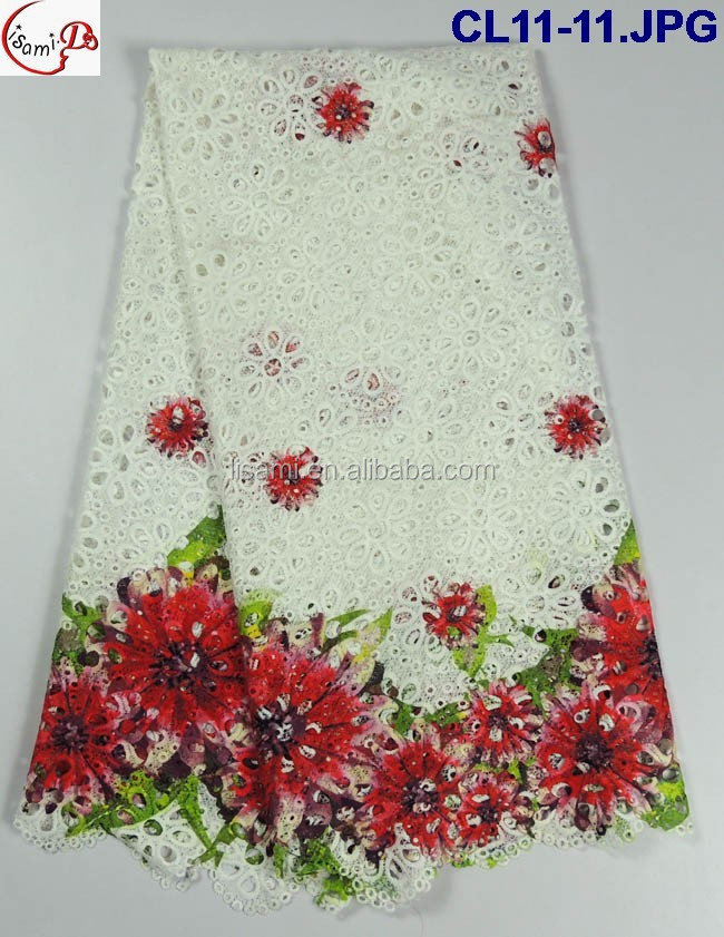 CL11-11 Embroidered Chemical African Cupion Guipure Lace Fabric/African Lace Fabrics/Guipure lace