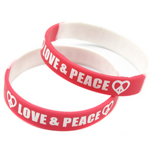 Promo Gift 1PC Printed Love and Peace Logo Silicone Bracelet for Give Away Gift