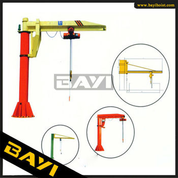 JIB crane,1T-5T capacity.360 degree rotation,with electric wie rope hoist lifting or chain hoist lifting