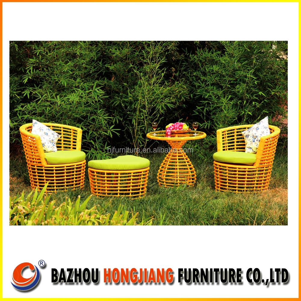 Modern appearance yellow rattan garden chair with footstool outdoor furniture