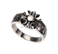 Vintage Mens Womens Cross Stainless Steel Fashion Flower Shaped Rings