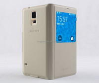 for Samsung Galaxy S5 PU flip leather case battery cover with window