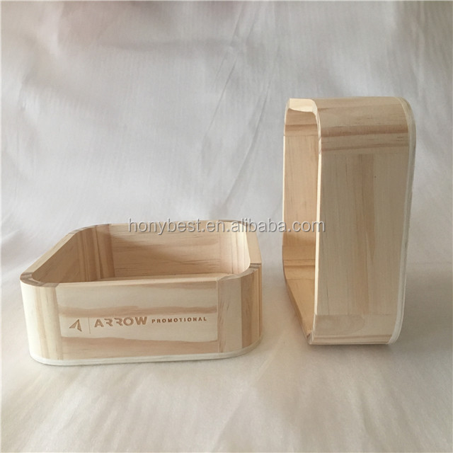 Recycled Custom Laser Engraving Logo Plain Wooden Display Storage Box without Lid