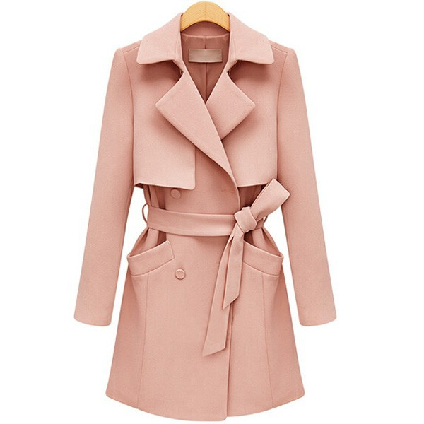 fake two layer wholesale coat woman long sleeve shawl collar trench coat with belt