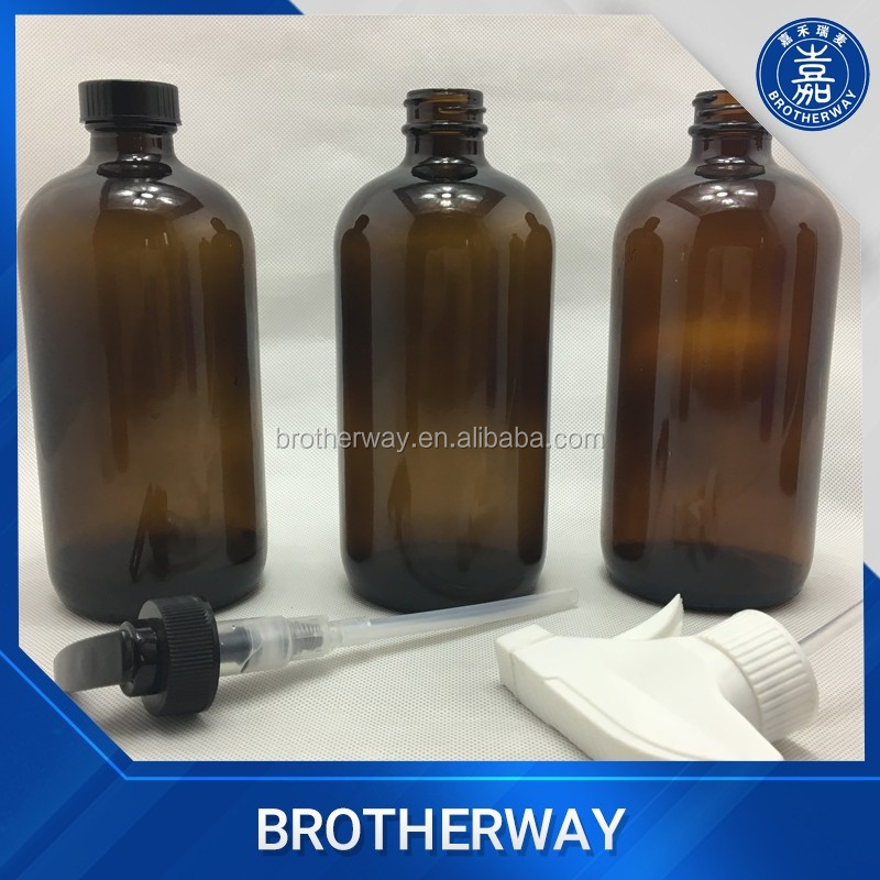 500ml 16oz amber boston glass bottle for chemicals with pump spray