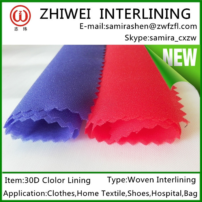 Polyester Woven Interlining hotsale color lining inthailand, bangladesh