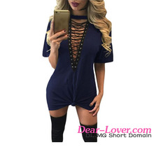 Hot Selling Women Blue Lace Up Half Sleeves Tee Sexy Mini Dress Pics