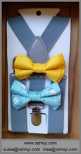 Cotton Bowtie Kids Baby Bow Tie With Suspender Set For Infant, Toddler, Boy, Girl