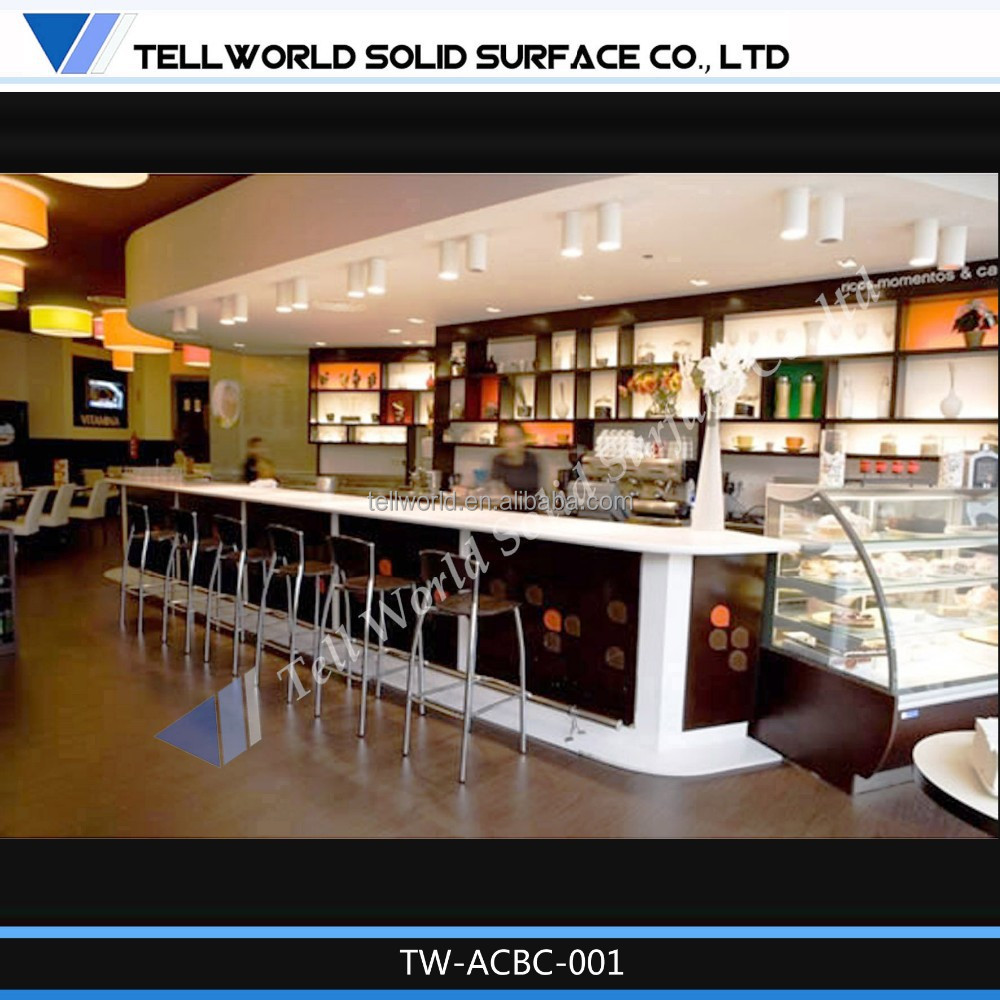 Blue Color Artificial Marble Top Commercial Acrylic Lighted Bar Counter