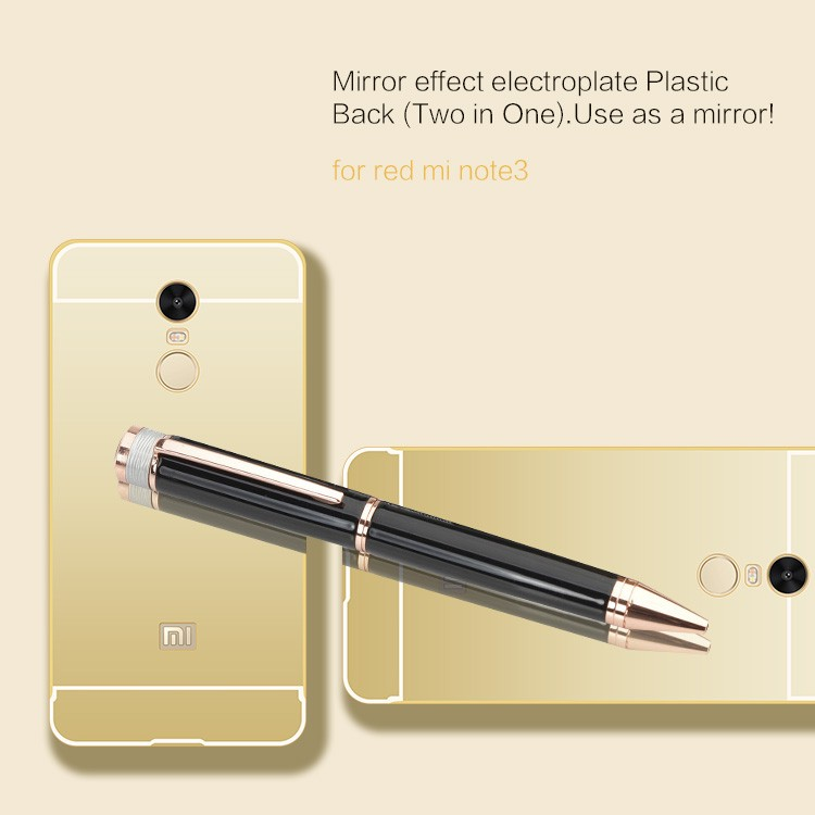 Luxury Aluminum Metal Bumper Frame Mobile Phone Mirror Case For Xiaomi redmi note 3 with Mirror Cover