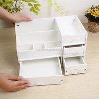 Wooden Board Storage Box Desk Decor Stationery Makeup Cosmetic Organizer