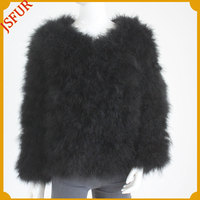 Hot style very warm for lady winter turkey feather fur coat
