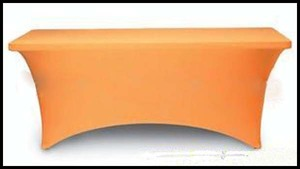 Rectangle orange spandex stretch table cover banquet table cloth