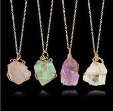 Handmade Trendy Natural Stone Necklace Mortar Drusy Crystal Clear Quartz Necklace Gold Chain Necklace Women Men