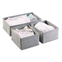 Breathable Polypropylene Fabric Baby Nursery Closet Organizer for Clothing, Hats, Bibs, Diapers - Set of 3, Gray