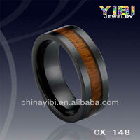 Black Ring Vners Ceramic Ring Holders, Wood Engagement Rings,Natural Wood Ring Jewelry