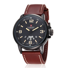 NAVIFORCE 9028 Men Leather Top Brand Luxury Men's Quartz Watch Waterproof Sport Military Watches