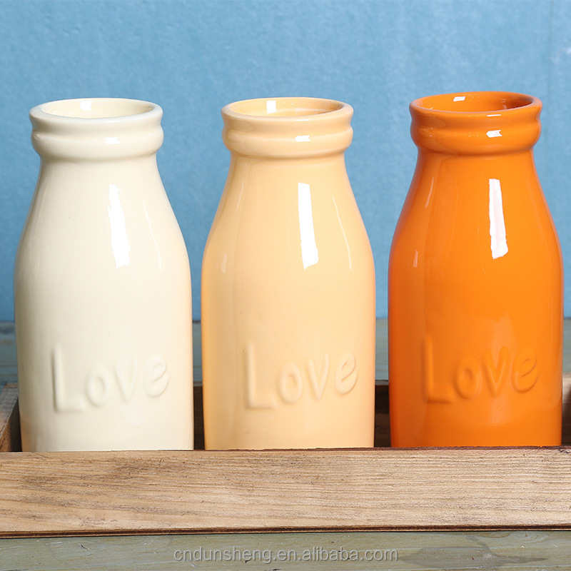 colorful rustic ceramic love bottle for flower, set of 3, in wood frame