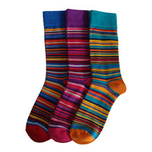 HAINING GS multi-colored rice wineglass and striped designs 3 pairs pack cotton happy dress mens business socks
