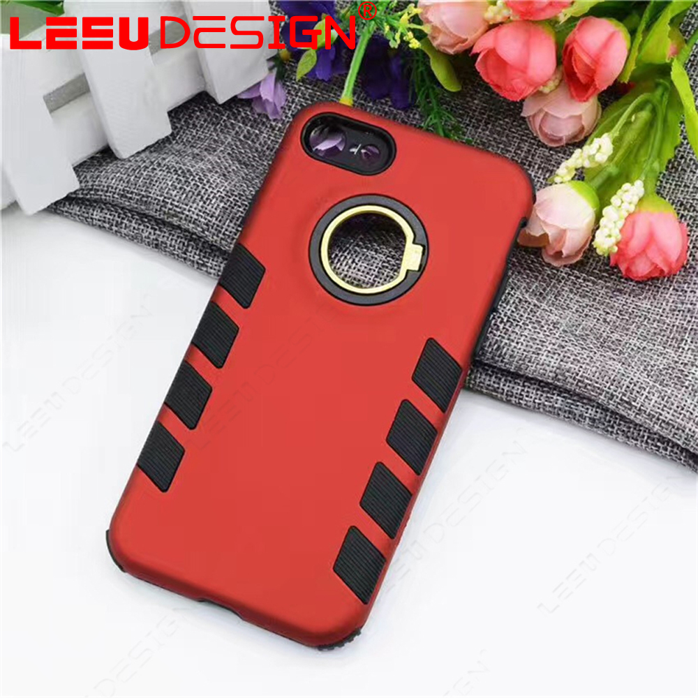 Custom branded diy shockproof armor pc phone case cover with ring stand for Iphone 7 7 plus