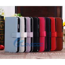 High quality Pure Color Flip Leather Case for Samsung S4 with Credit Card Slots